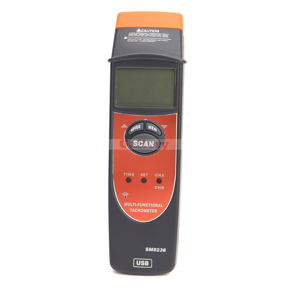 Digital Multi-Functional Tachometer Tacho Meter RPM Record Meter Tester with USB Interface SM8238<br>