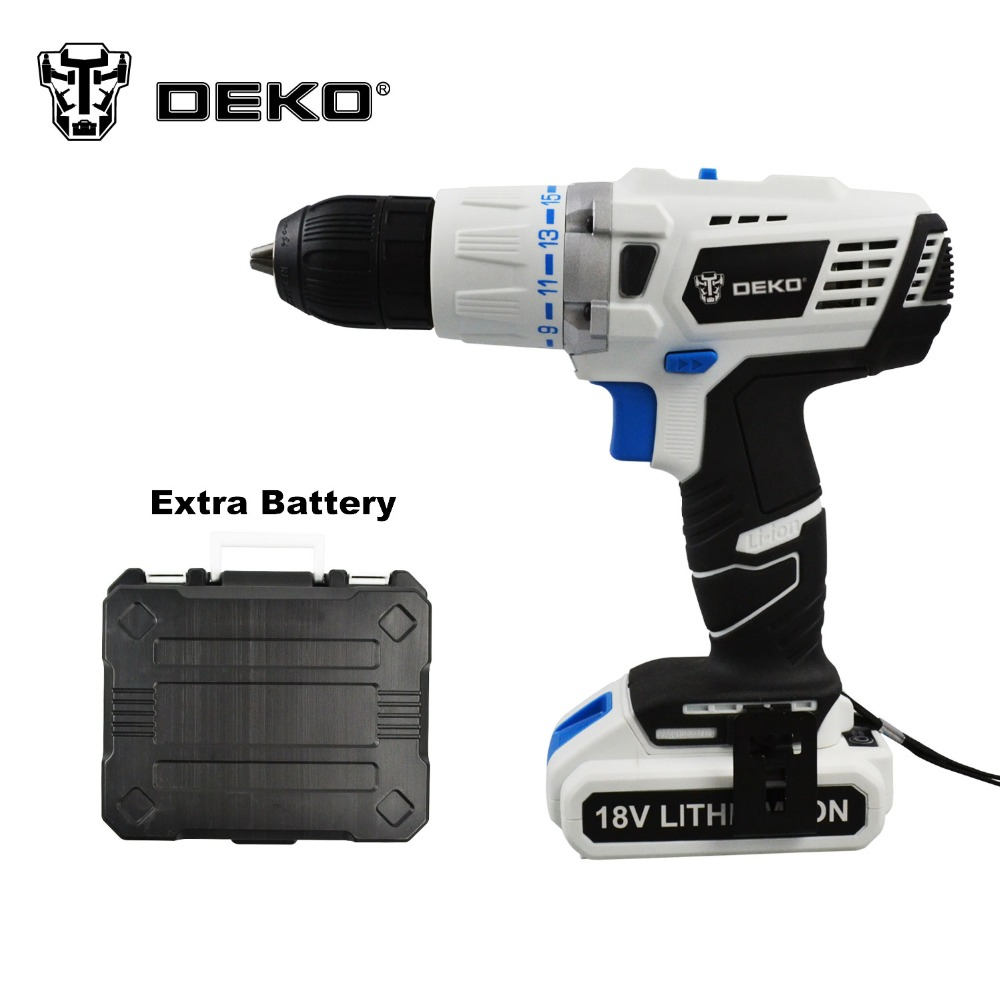 DEKO 18V DC New Design Mobile Power Supply Lithium Battery Cordless Impact Drill With Extra Battery pack and BMC(China (Mainland))
