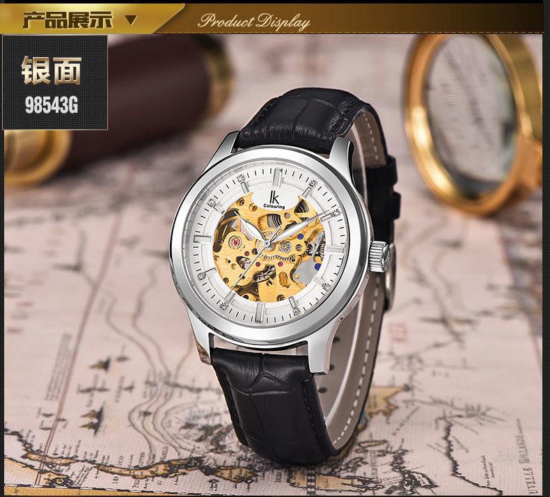 Ik полностью автоматические механические часы вырез inveted мужской повседневная часы световой часы