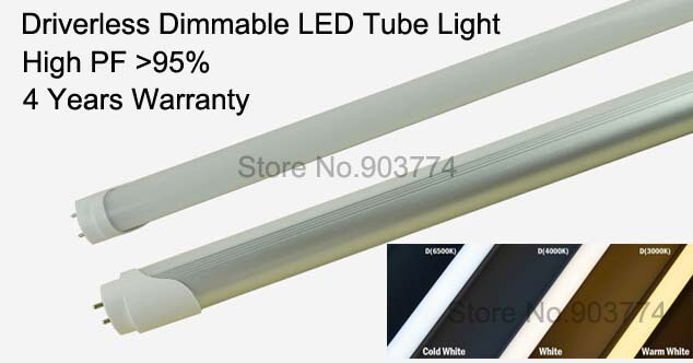 50pcs/lot Free shipping Driverless Dimmable 20W led T8 tuble light,120cm 2835 SMD,warm white/cool white CE&amp;ROHS,4 years warranty<br>