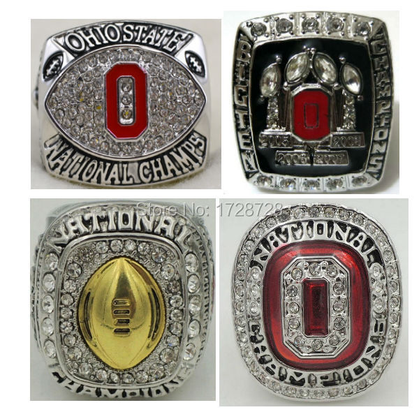 Gold plated A Set(4pcs) 2014 2015 Ohio State Buckeyes National College Football Championship rings Solid size 11 for mens gift <br><br>Aliexpress