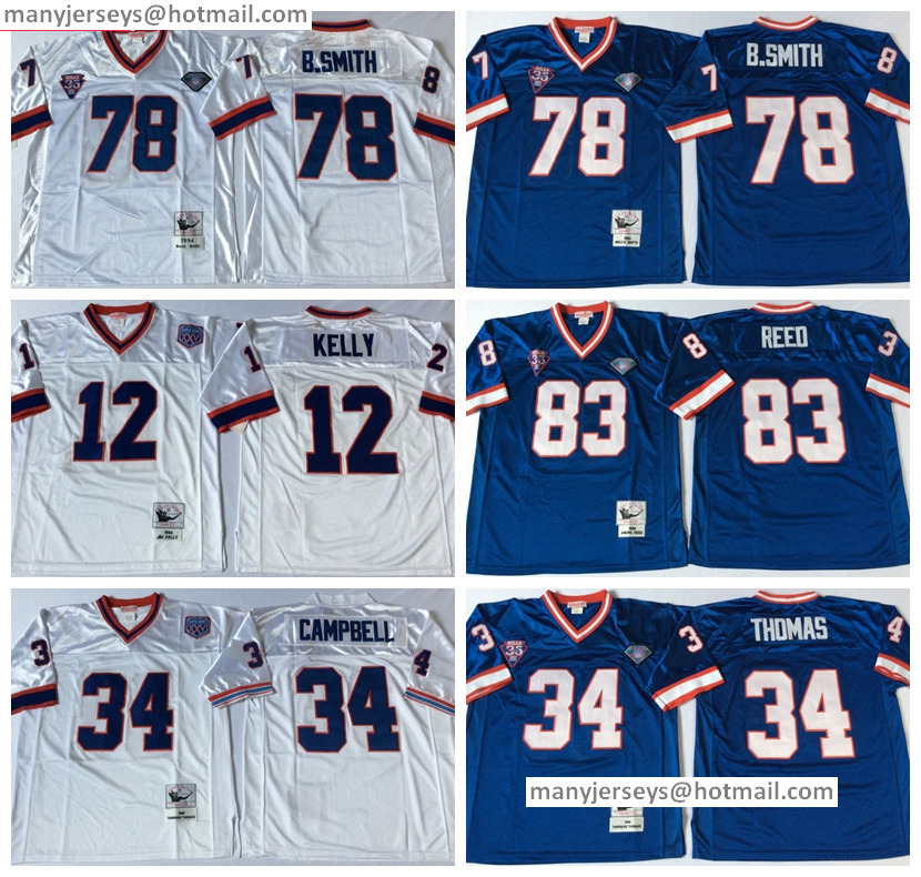 Men 34 Thurman Thomas Throwback Navy Blue White 78 Bruce Smith 83 Ander Reed Retro All Stitched Quality Free Shipping(China (Mainland))