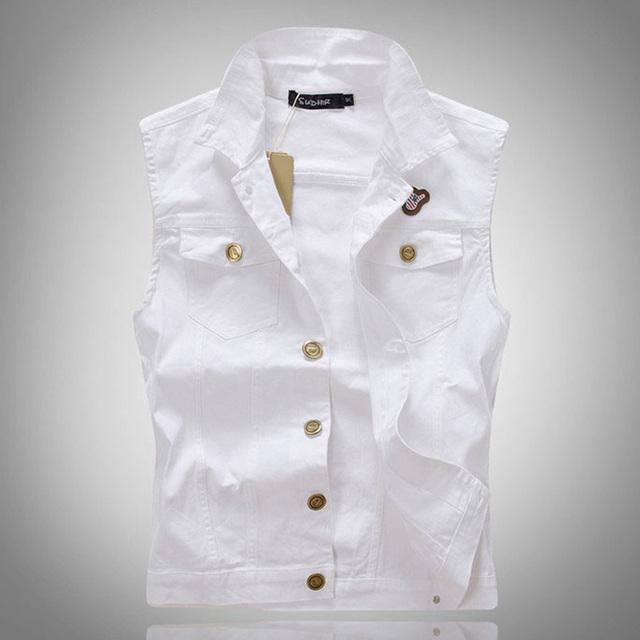 Мужская свободного покроя белый тонкий джинсовой жилет мужской мода тонкий верхняя ...
