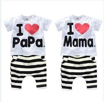 Retail 1set 2015 Children Clothing Summer Set boys girls I Love Papa and Mama short sleeve t-shirt+pants suit kids pajamas set(China (Mainland))