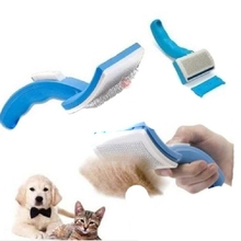 Pet Comb Clean Shedding Tool Hair Fine Trimmer Attachment Brush Dog Cat Self Cleaning Grooming Hair Fur Comfortable(China (Mainland))