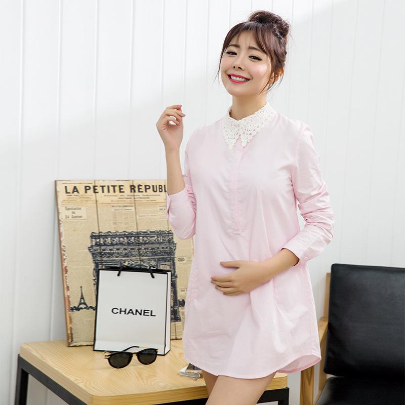 2016 new spring autumn font b maternity b font shirts cotton blouses long sleeve shirts pregnant