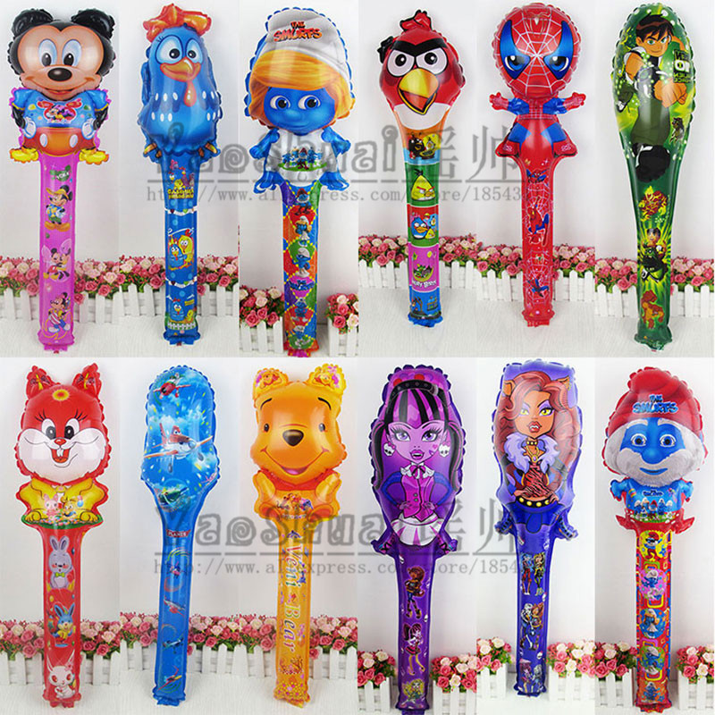 Lucky 20pcs/lot Mickey&Spiderman&Winnie Bear&Ben 10 Cheering Sticks Balloon Foil Air Balloons For Birthday Party Inflatable Toys(China (Mainland))