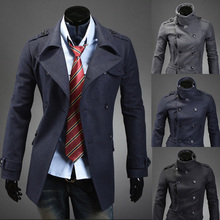 New Arrival Winter&Autumn Trench Coat Men Fashion Double-Breasted Long Coat Men Slim Fit manteau homme Plus Size(China (Mainland))