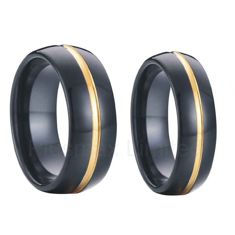 Pair Matching 8mm men &amp; 6mm women 18k yellow gold plated black tungsten carbide rings wedding band promise couples rings sets<br><br>Aliexpress