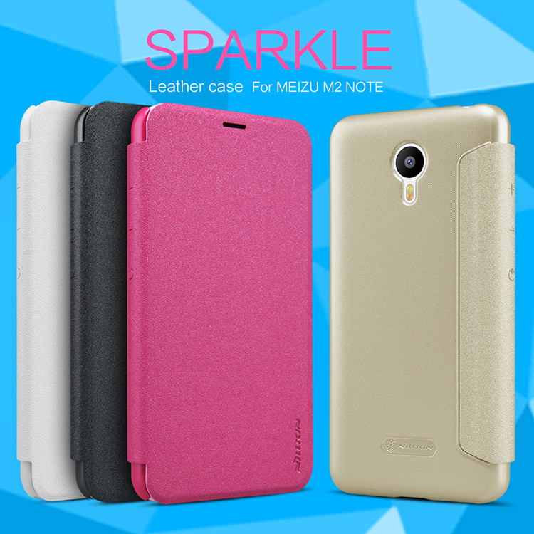 Free Shipping NILLKIN Sparkle Series Meizu M2 Note Leather Case For Meilan Note 2 Flip Cover Case(China (Mainland))