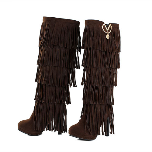 New Winter Boots For Women High-heeled  Fringed Boots High-top Boots
