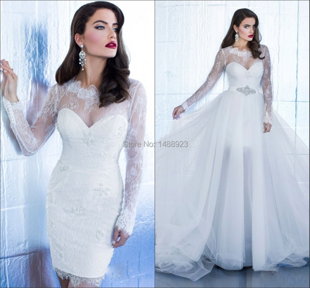 2017 White Long Sleeve Detached Wedding Dresses High