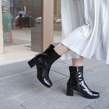EGONERY/женские ботинки из лакированной кожи; теплая зимняя женская обувь на высоком каблуке 6 см; Цвет фиолетовый, синий, черный; коллекция 2019 г...(China)