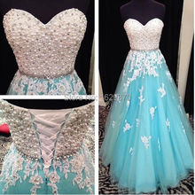 Weiß und Blau Lange Prom Kleider 2015 New Friesen Sweetheart Sleeveless Eine Linie Lace-up Bodenlangen Tüll Lager Kleid Kleid(China (Mainland))