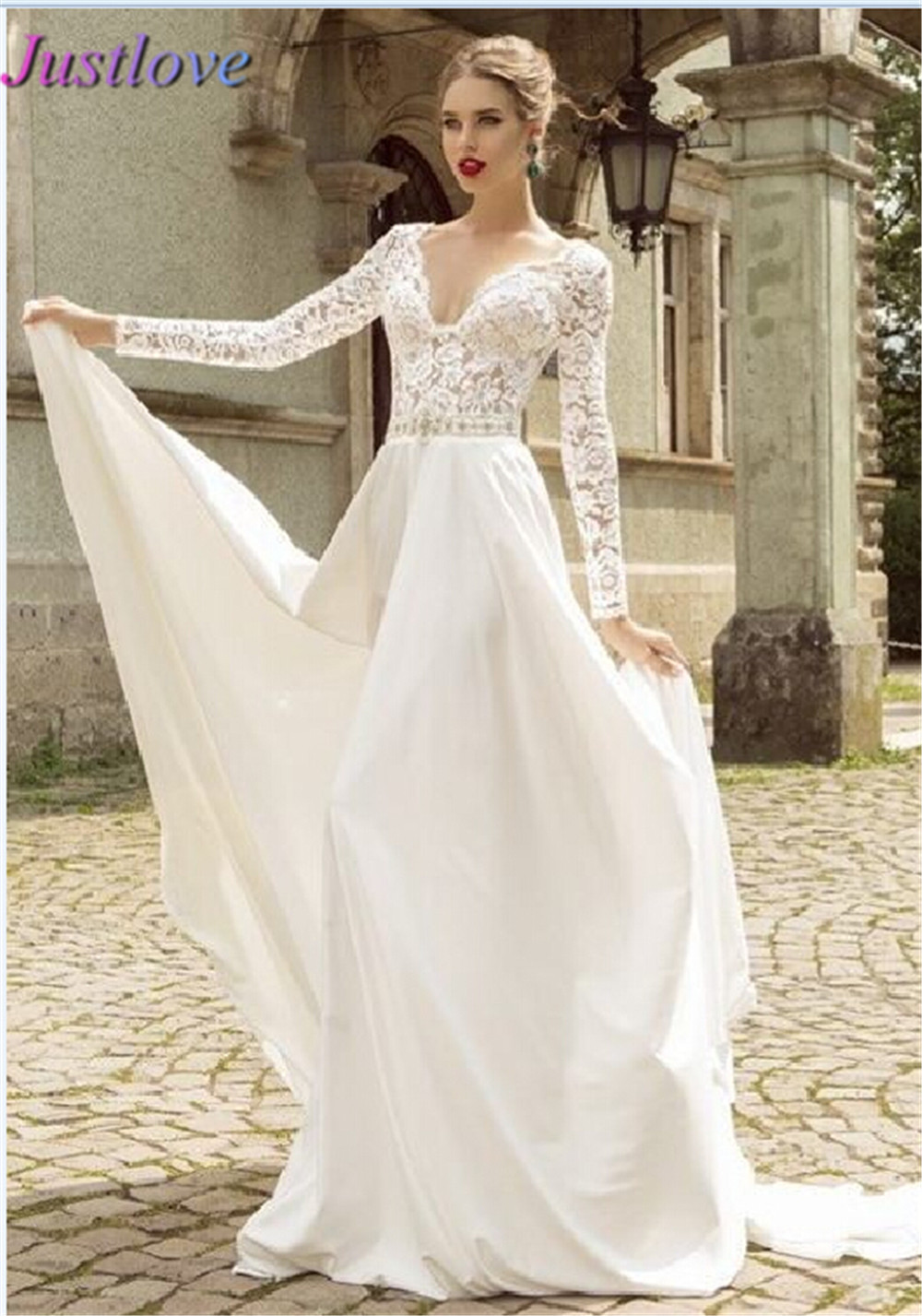 Lace Wedding Dress 2015 Women Long Sleeves Romantic V Neck ...