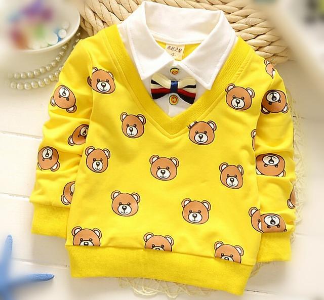 ( 1 шт./лот ) 100% хлопок 2016 милый мальчик джентльмен медведь ребенка верхняя одежда