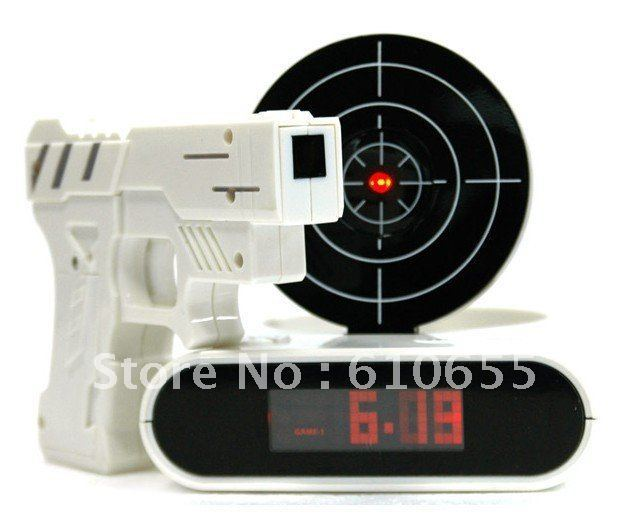 Laser Target Desk Shooting Gun Alarm Clock Cool Gadget Toy Novelty with Red LED Backlight 12pcs/lot Free shipping