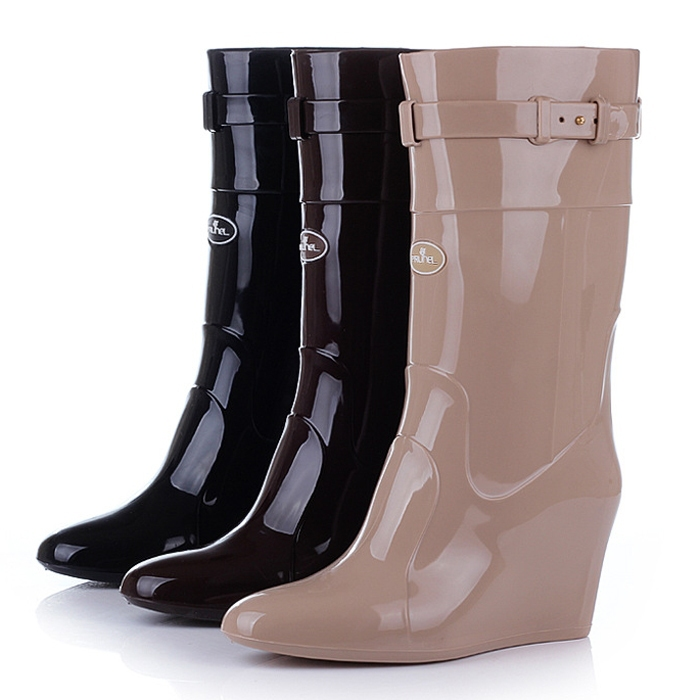 Rain Boots With Wedge Heel