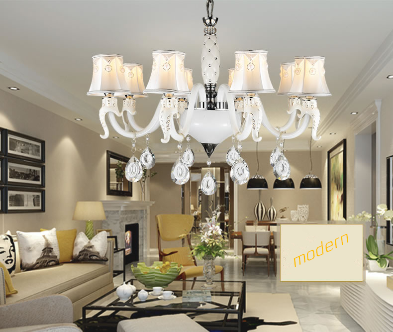 Crystal Large Chandelier Lighting Modern Minimalist White Chandelier for Dining Room Living Room Chandelier Lustre Free shipping(China (Mainland))