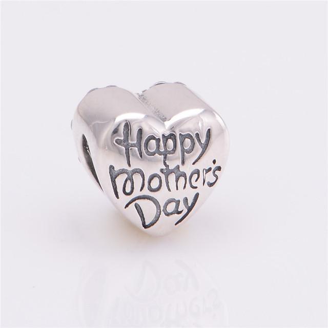 100% стерлингового серебра 925 Jewerly счастливый день матери подарок бусины CZ камни DIY выводы ввбр женщины подходит европейским очаровывает браслеты