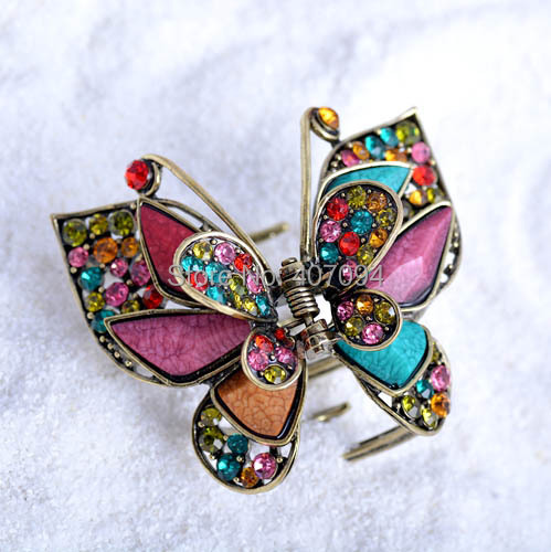 ( 3 pcs/lots) filigreed Vintage butterfly Jewelry Hair Claw Antique Metal Hair Clips For Women(China (Mainland))