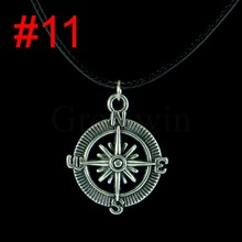 16 Designs Choice Tibetan Silver Plated Eiffel Tower Black Leather Cord Rope Pendant Choker Charm Necklace
