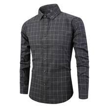 Весенне-осенние Рубашки винтажная Повседневная полированная клетчатая рубашка с длинными рукавами мужские хлопковые Джокер рубашки(China)