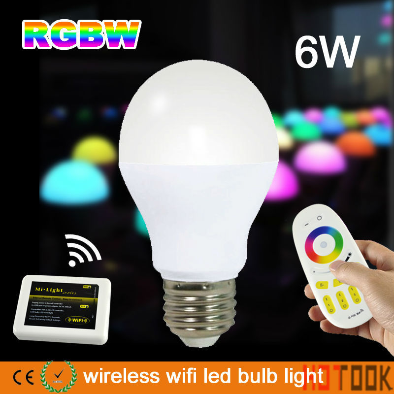 22 Bulbs + 1 Touch Screen Remote + 1 Wifi Controller AC85-265V 2.4G Group Division 6W RGBW LED Bulb Lamps 2-4 ZONE mi.light(China (Mainland))