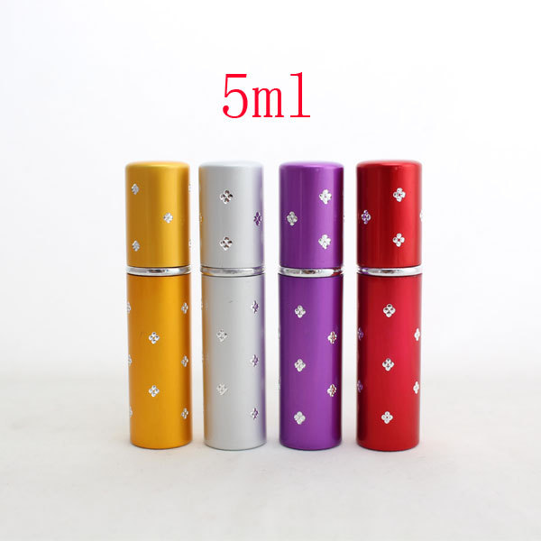 5ml refillable glass perfume travel atomizers aluminum with diamond ,5cc perfume spray glass bottles,perfum bottle for travel(China (Mainland))