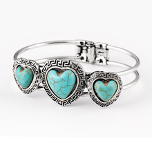 Ethnic Adjustable Vintage Heart Turquoise Jade H Double Cuff Bracelets Bangles Women Wedding Jewelry Silver Plated Statement (China (Mainland))