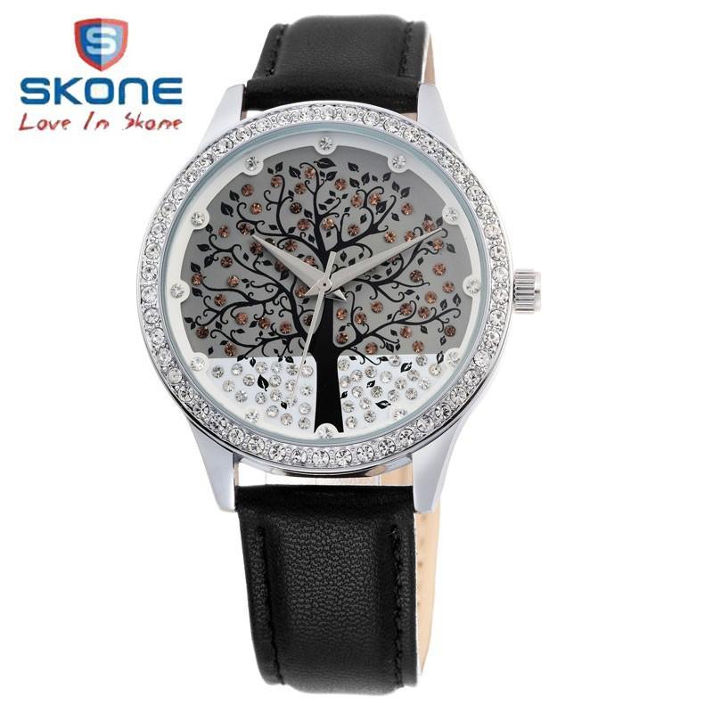 SKONE Brand Clock Genuine Leather Watch Diamond Watch Christmas Tree Design Dress Wristwatches,3ATM,12-month Guarantee(China (Mainland))