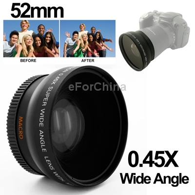 Brand New 0.45X 52mm Wide Angle Lens with Macro for Nikon Coolpix D40/ D60/ D70s/ D3000/ D3100/ D5000(China (Mainland))