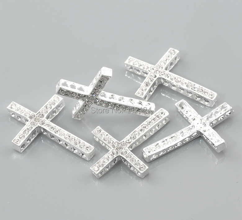 Free Shipping 150 Pcs Silver Plated Clear Rhinestone Cross Connectors Pendants Jewelry Findings Charms 36x25mm<br><br>Aliexpress
