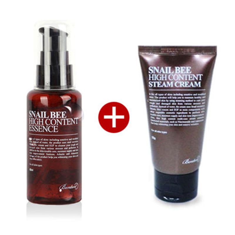 BENTON SNail Bee High Content Essence 60g + Steam Cream 50g Face Cream Skin Car Moisturizing Anti Wrinkle Facial Essence Serum