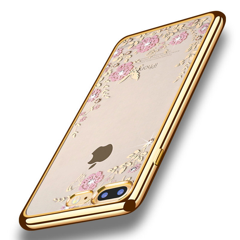 Luxury Cases Rhinestone Flowers Silicon Clear Soft Case For iPhone 6 Cover 5s 6s Plus 5 SE Cases iPhone 7 Case Plus Phone Cover(China (Mainland))