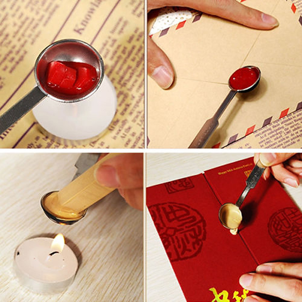 2pcs Vintage Retro Metal Wax Spoon Stamp Sealing Anti Hot for DIY Craft Invitation Letters Decoration(China (Mainland))