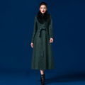 New Fashion Long Slim Trench Coat Women S Lace Coat With Fur Collar Double Breasted Casual