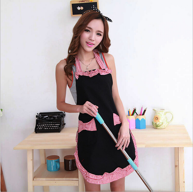 Korean princess pinafore good quality new cute bowknot womotton Grid Pattern with Bowknots Pockets Design Great cooking aprons(China (Mainland))