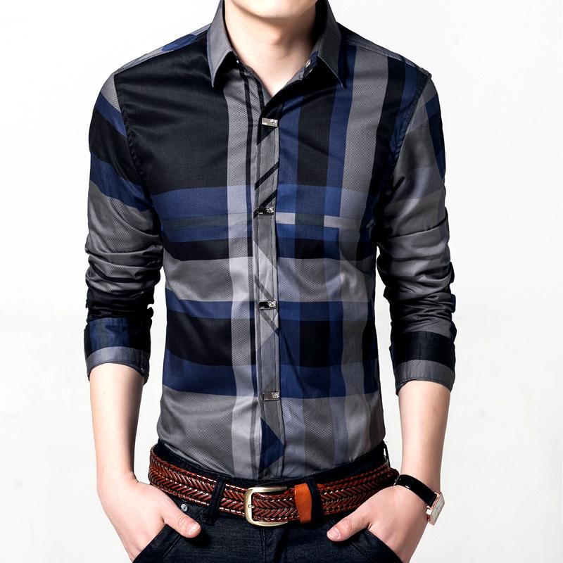 2016 men cotton retro dress shirts brand hot man spring autumn long sleeve plaid cotton vintage casual male shirts plus size(China (Mainland))