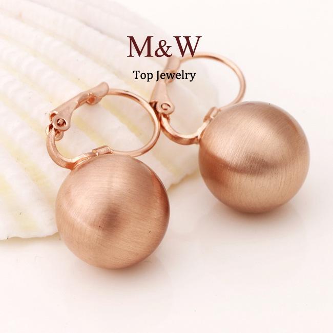 Rose Gold Ball Drop Earrings Rose Gold Plated Ball Drop