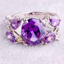 Wholesale Charm Fancy Shinning Oval Cut Amethyst White Sapphire 925 Silver Ring Size 9 Fashion Women
