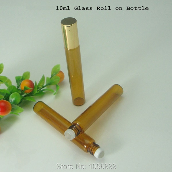 10CC 10ML Amber Brown Glass Roll on Bottle, Essential Oil Vial, Perfume Packing Bottles, Empty Glass Vials Golden Cap, 50pcs/Lot(China (Mainland))
