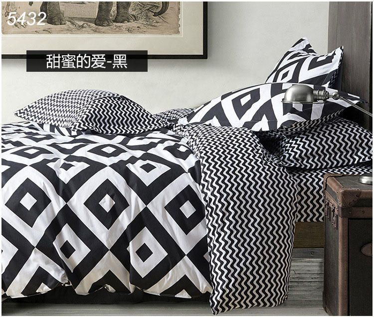 Brief black and white bedding set square printing bed clothes comforter cover brief cotton fabric wave lines 4pcs bed set 5432(China (Mainland))