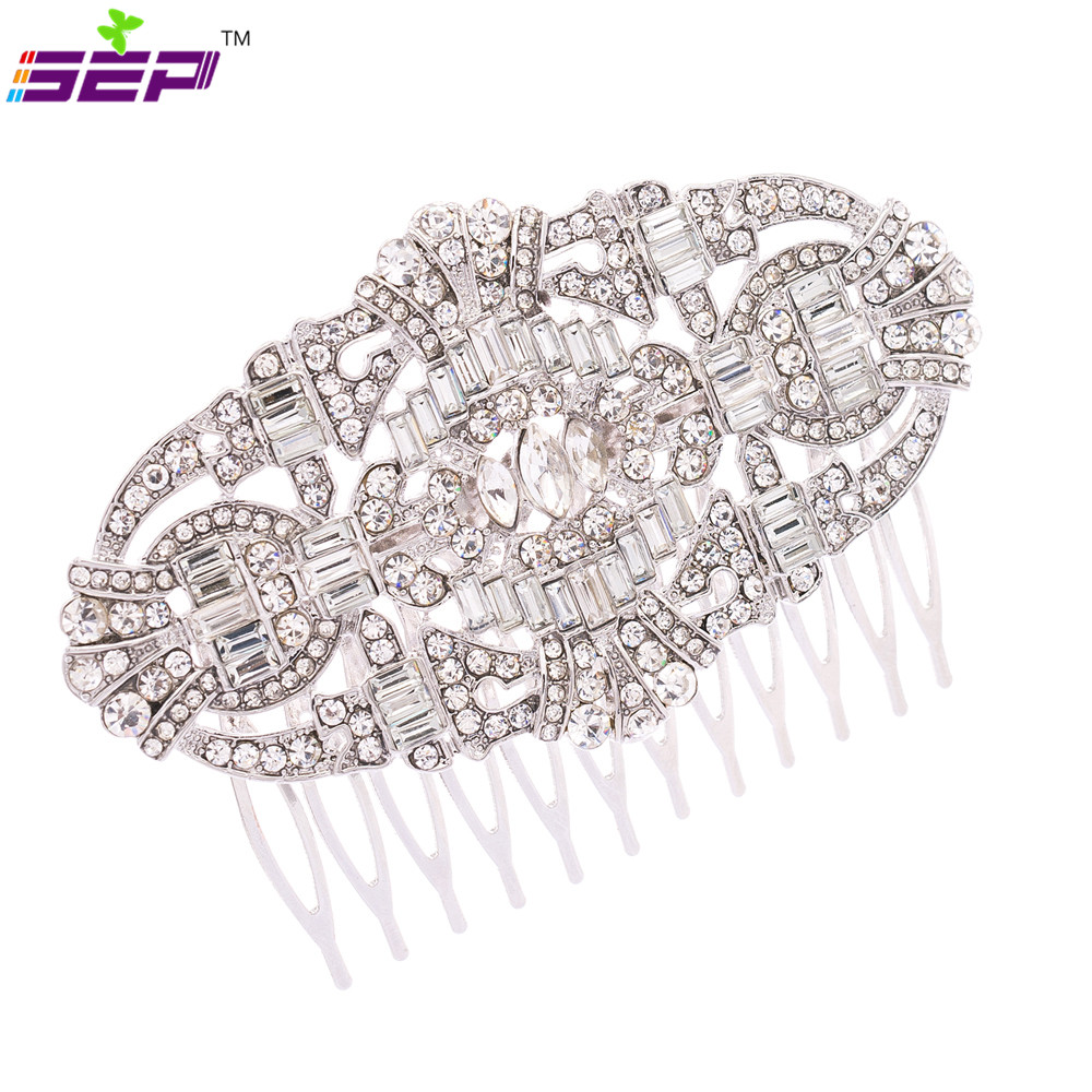Classic Zinc Alloy Rhinestone Crystals Bridal Hair Combs Wedding Accessories Women's Jewelry Free Shippng Co5186 - SEP store