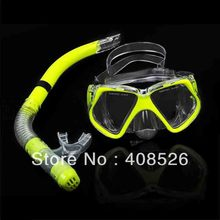 New Fluorescence Yellow Scuba Diving Equipment Dive Mask + Dry Snorkel Set Scuba Snorkeling Gear Kit 30(China (Mainland))