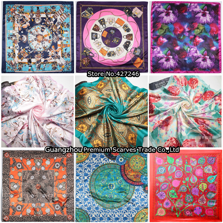 Free Shipping 2015 Big Size 90x90cm Silk Square Scarf Women Fashion Brand High Quality Imitated Silk Satin Scarves Shawl Hijab(China (Mainland))