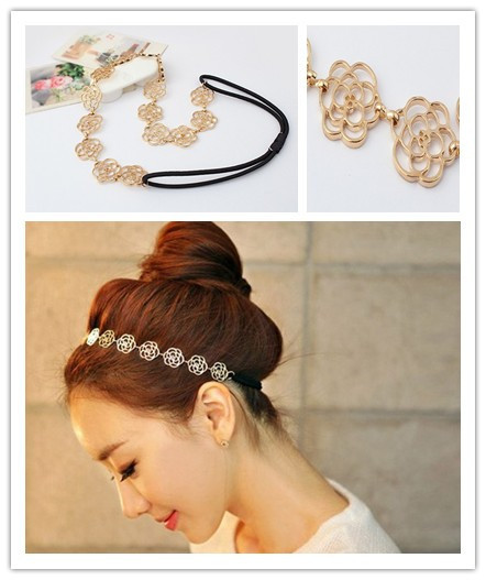 Min Order 5USD (Mix Item)SBY0051 New Style Fashion Alloy GOld Rose Flower Hair Band Hair Clip Accessories(China (Mainland))