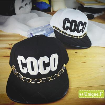 2015 COCO letters baseball cap, hip hop chain snapback caps, unisex casual outdoor travel sunhat free shipping(China (Mainland))