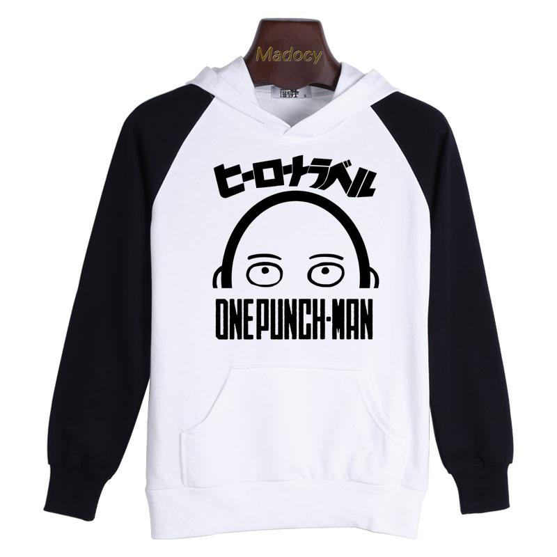 OnePunch-Man Black White Hoodie One Punch Man Saitama Hooded Sweatshirt 2015 New Japanese Anime