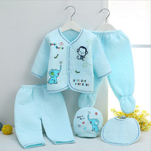 Blue Pink Yellow 5 Pieces Newborn Baby Clothing Set Infant Winter Thick Warm Clothes Suits Fashion Character 100% Cotton Clothes(China (Mainland))